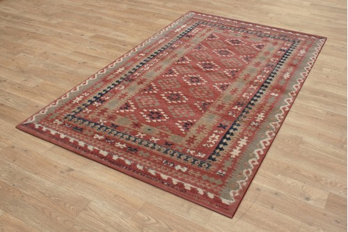 100% Wool Rust Royal Keshan Rug Design Machine Woven in Egypt with a 10mm pile