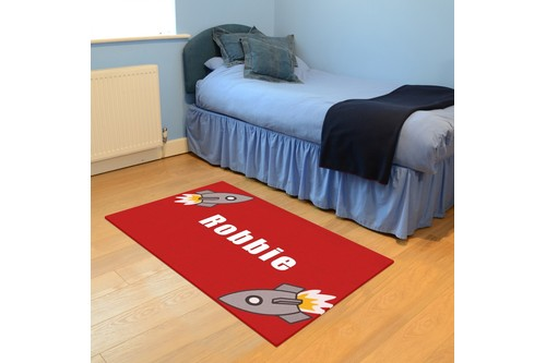 100% Wool Red Personalised Rugs - Handmade in India with a 15mm pile