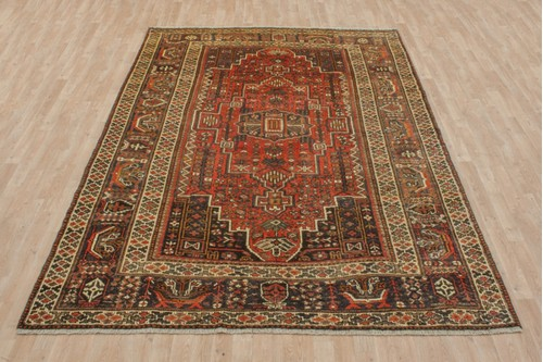 100% Wool Rust Persian Shiraz Rug SHZ024000 303x213 Handknotted in Iran with a 15mm pile