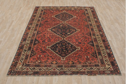 100% Wool Rust Persian Shiraz Rug SHZ024000 305x211 Handknotted in Iran with a 15mm pile