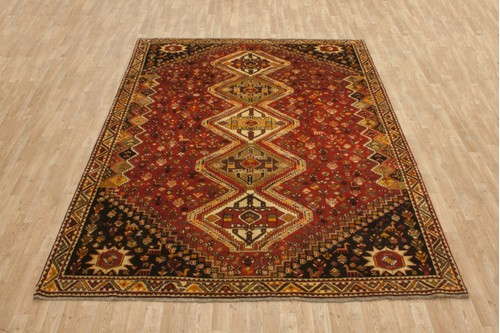 100% Wool Rust coloured Persian Shiraz Rug SHZ024000 311x222 Handknotted in Iran with a 11mm pile