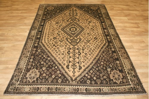 100% Wool Gold Persian Shiraz Rug SHZ024CHE 307x208 Handknotted in Iran with a 15mm pile