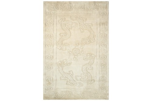 100% Wool Cream Plain Carved Chinese Design Handknotted in China with a 25mm pile
