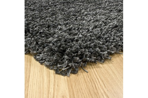 100% Polypropylene Grey Lippa Polypropylene Shaggy Rug Machine Made in Belgium with a 40mm pile Image 2