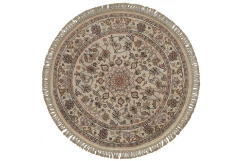 Traditional Indo Persian Meshed Rug Design IPM075 CIRCLE Cream